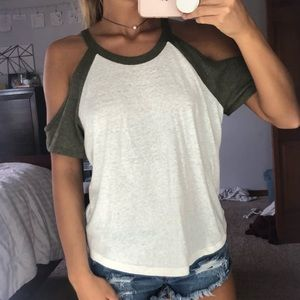 White and Army Green Cold Shoulder Shirt